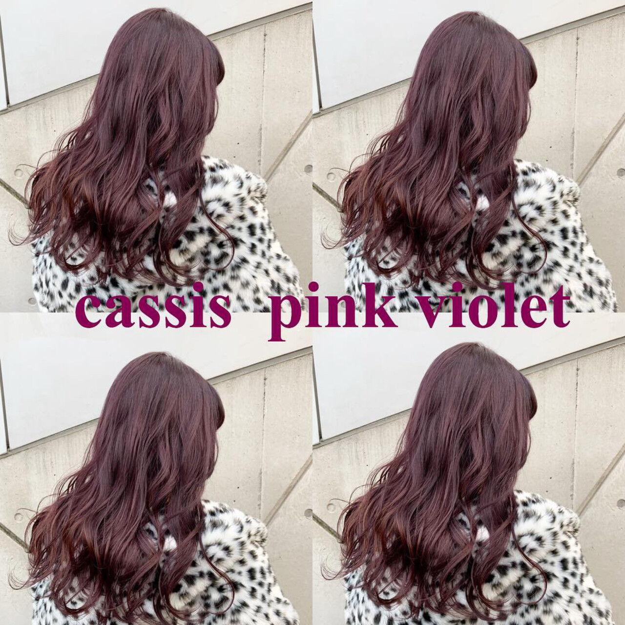 カシスレッド セミロング レッドブラウン ストリートヘアスタイルや髪型の写真・画像