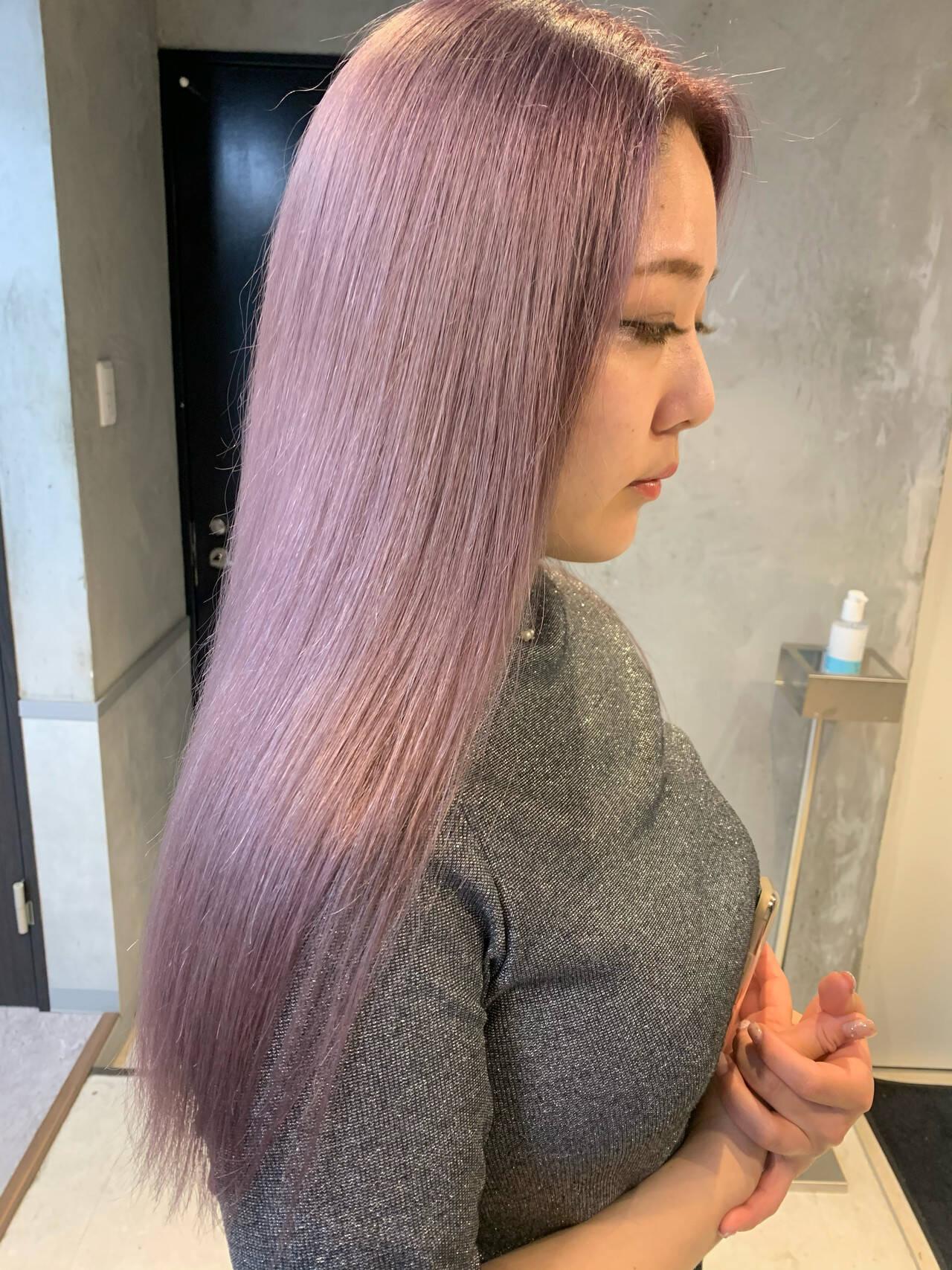 ラベンダーピンク ロング ピンクパープル ピンクバイオレットヘアスタイルや髪型の写真・画像