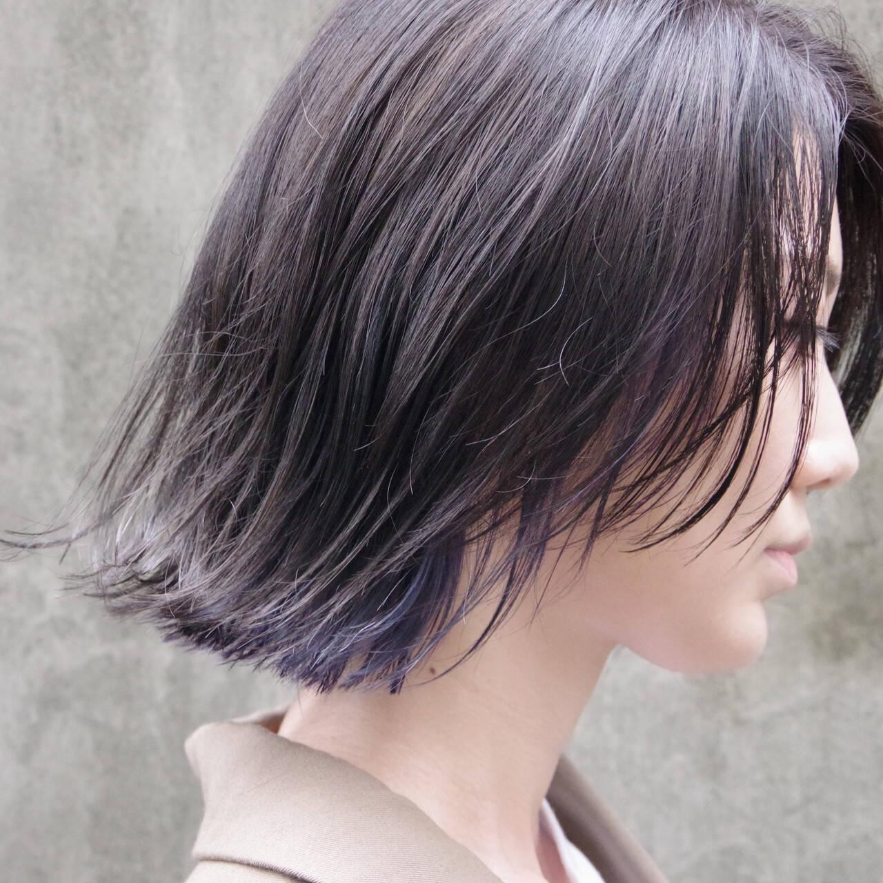 ボブ 暗髪 ハンサムボブ インナーカラーヘアスタイルや髪型の写真・画像