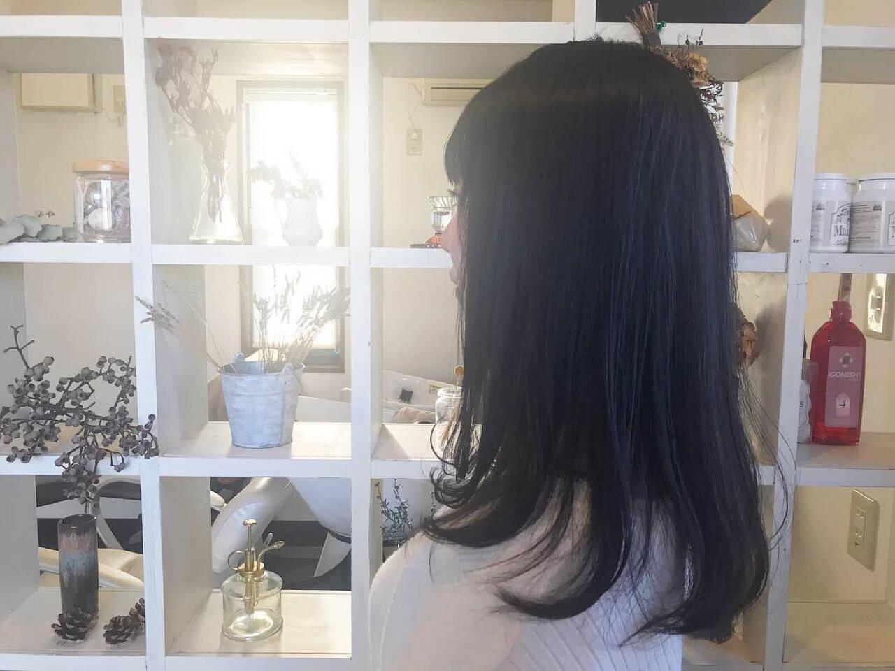 ネイビーアッシュ ネイビー ロング グレーヘアスタイルや髪型の写真・画像