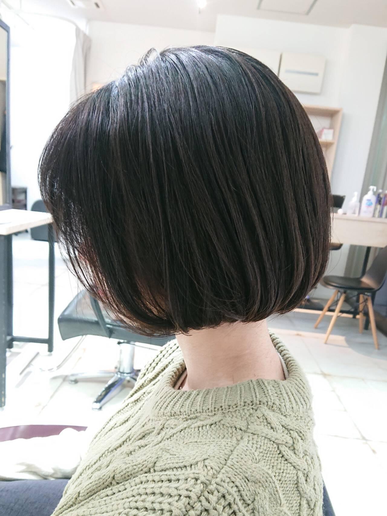 簡単スタイリング 切りっぱなしボブ ボブ 美シルエットヘアスタイルや髪型の写真・画像
