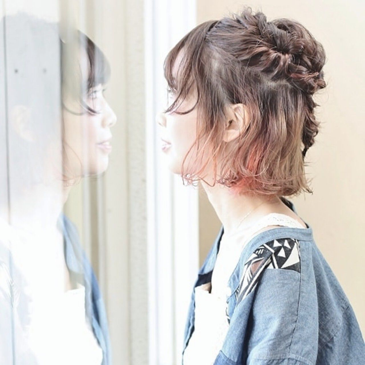 猫耳 ストリート インナーカラー ヘアアレンジヘアスタイルや髪型の写真・画像