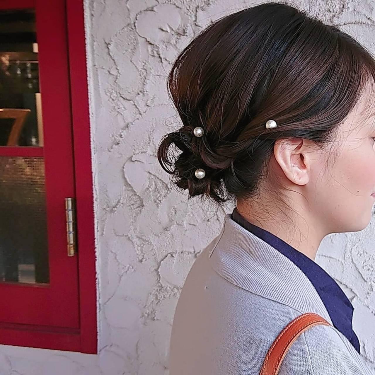 ボブ 着物 ヘアアレンジ ママヘアスタイルや髪型の写真・画像
