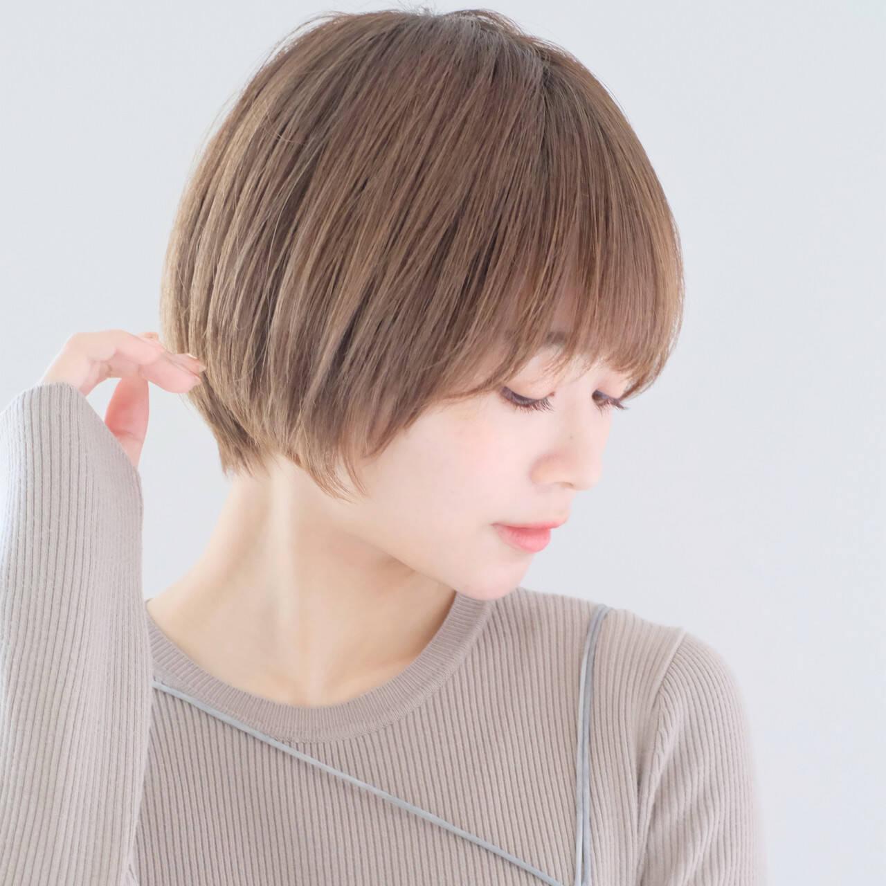 丸みショート ナチュラル ショート ショートヘアヘアスタイルや髪型の写真・画像