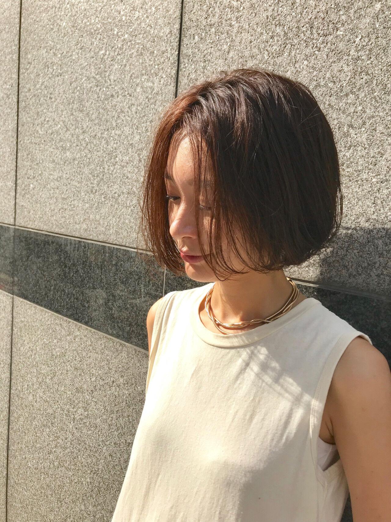 透け感ヘア ボブヘアー ボブ 透明感カラーヘアスタイルや髪型の写真・画像