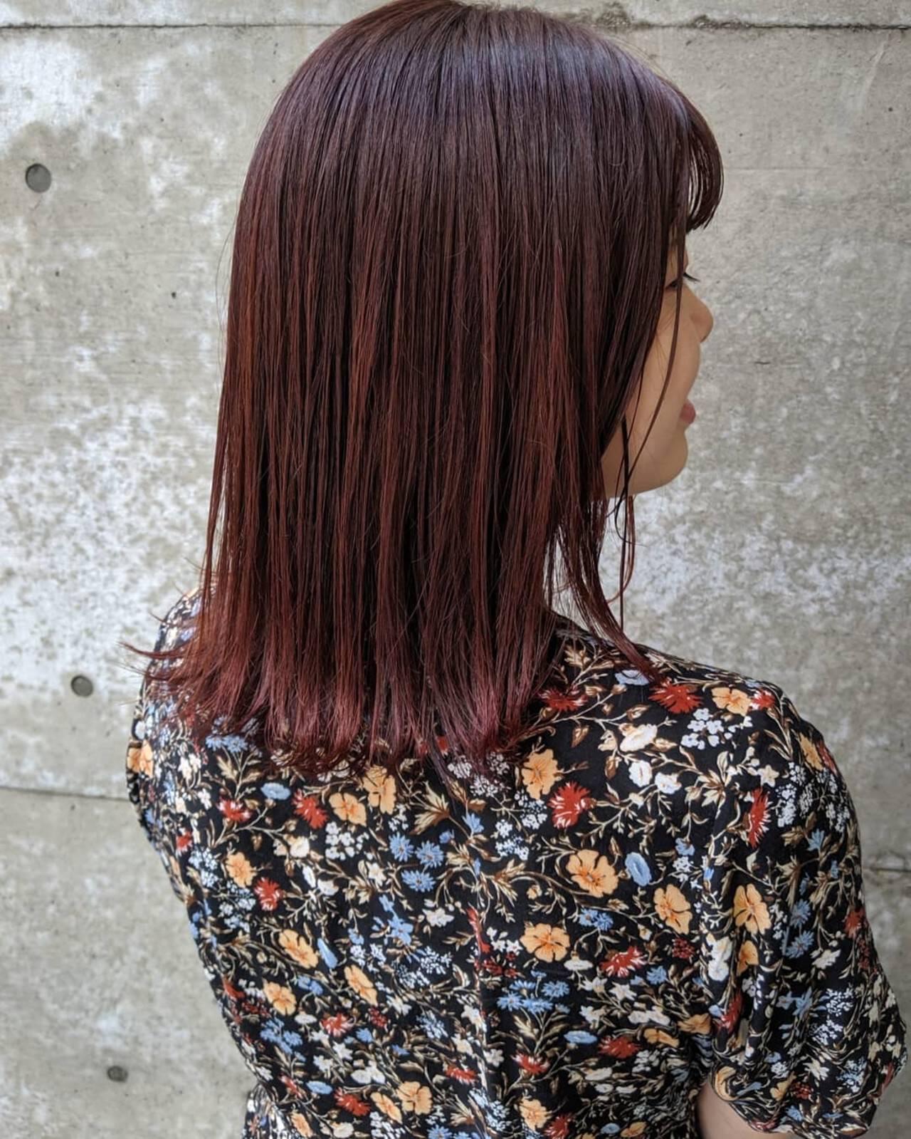 赤茶 ストレート ナチュラル チェリーピンクヘアスタイルや髪型の写真・画像