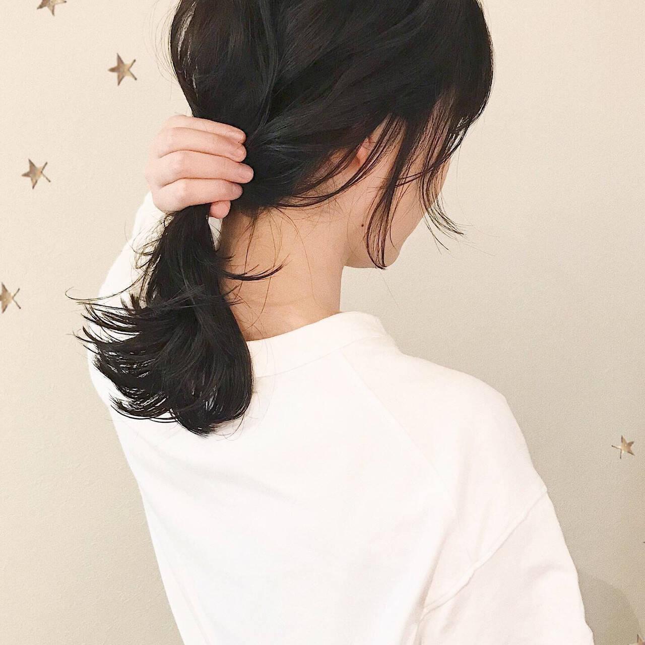 伸ばしかけ アンニュイほつれヘア セミロング ナチュラルヘアスタイルや髪型の写真・画像