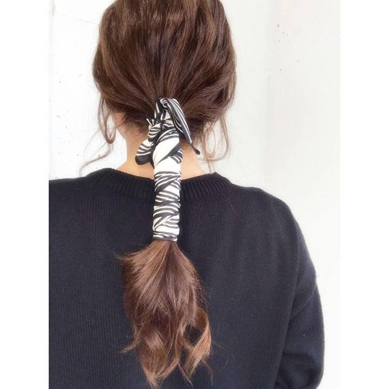ロング ナチュラル スカーフアレンジ 可愛いヘアスタイルや髪型の写真・画像