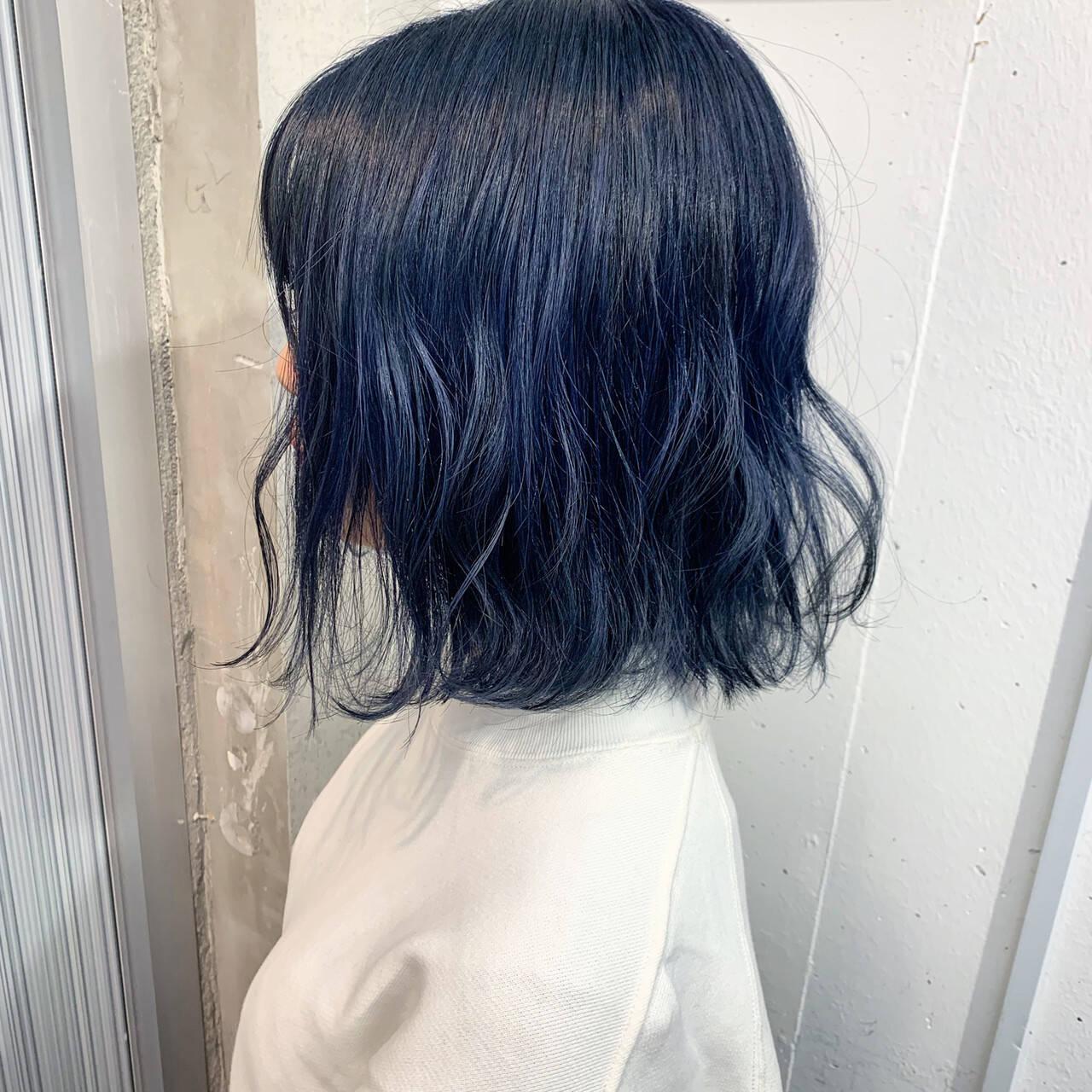 コリアンネイビー ダブルカラー ストリート ネイビーヘアスタイルや髪型の写真・画像