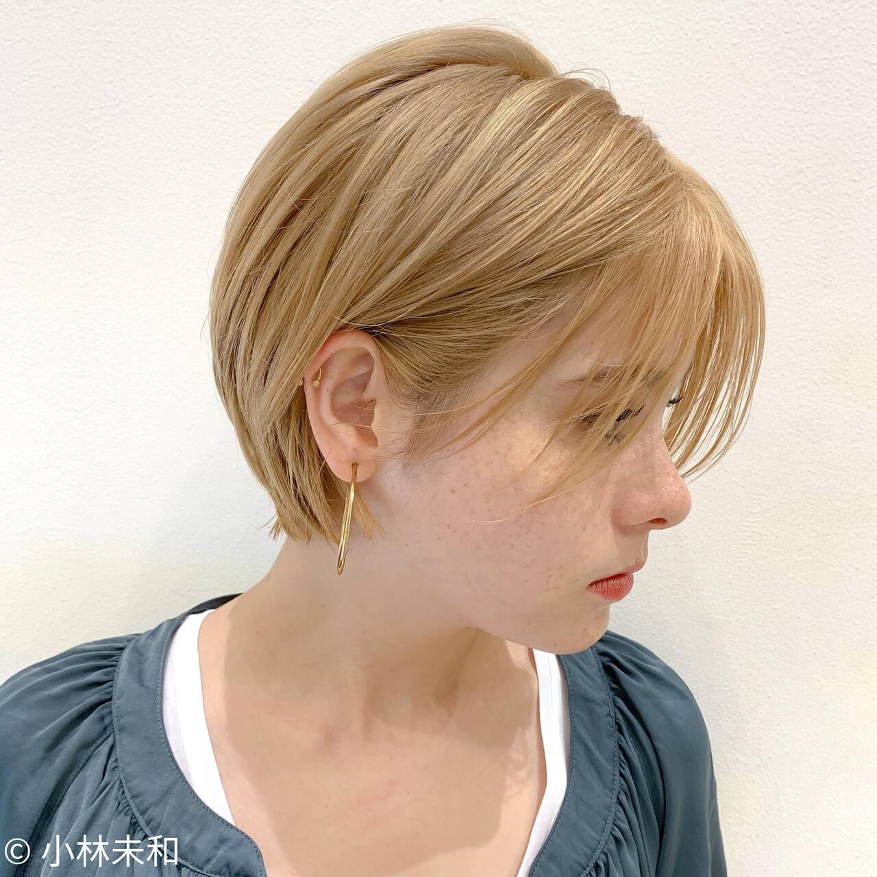 ニュアンスパーマ 外国人風カラー ショート ナチュラルヘアスタイルや髪型の写真・画像