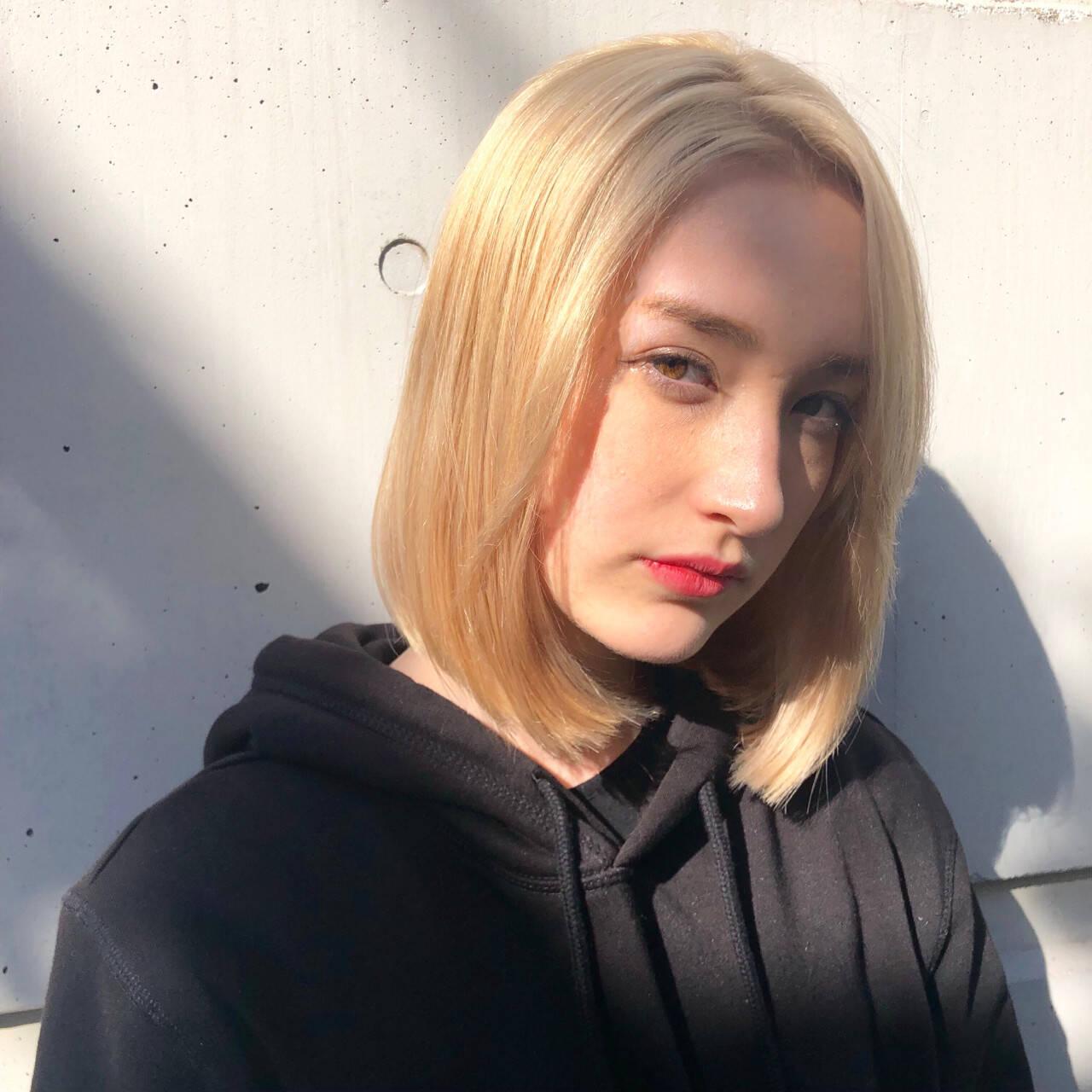ブリーチ 外国人風カラー ハイトーン ワンカールヘアスタイルや髪型の写真・画像