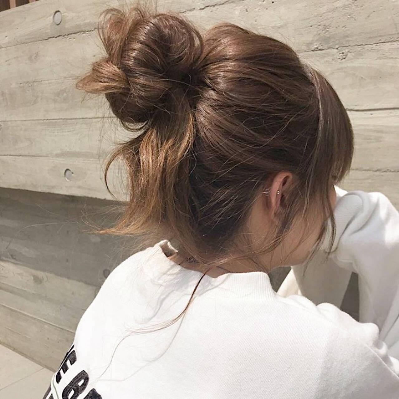 ヘアアレンジ ロング ストリート お団子アレンジヘアスタイルや髪型の写真・画像