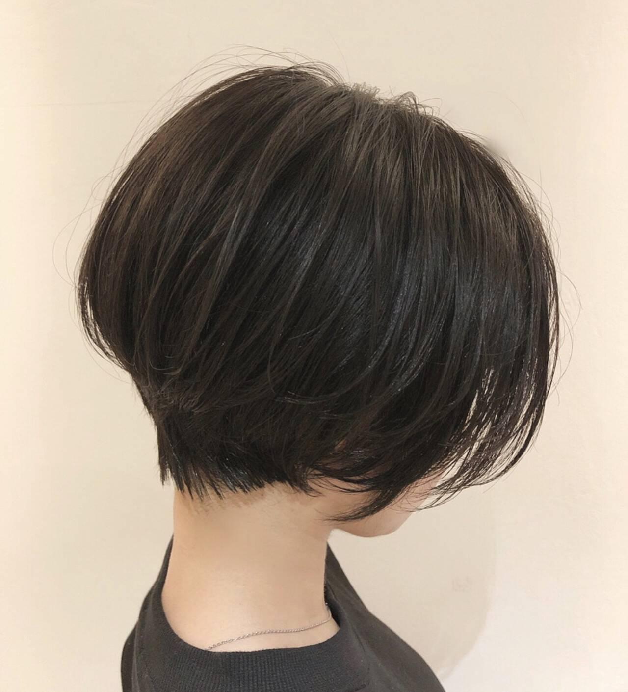 ショート ショートヘア 黒髪 大人ショートヘアスタイルや髪型の写真・画像