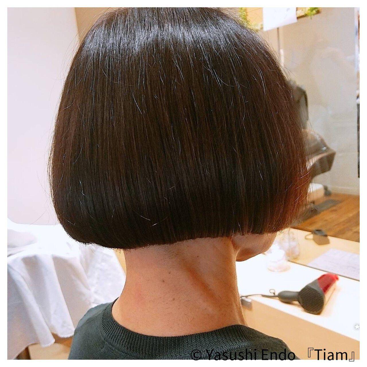 ノースタイリング ボブ 大人ヘアスタイル まとまるボブヘアスタイルや髪型の写真・画像