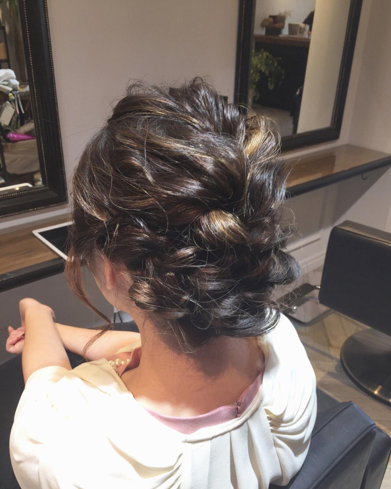 エレガント ヘアアレンジ セミロング ウェーブヘアスタイルや髪型の写真・画像