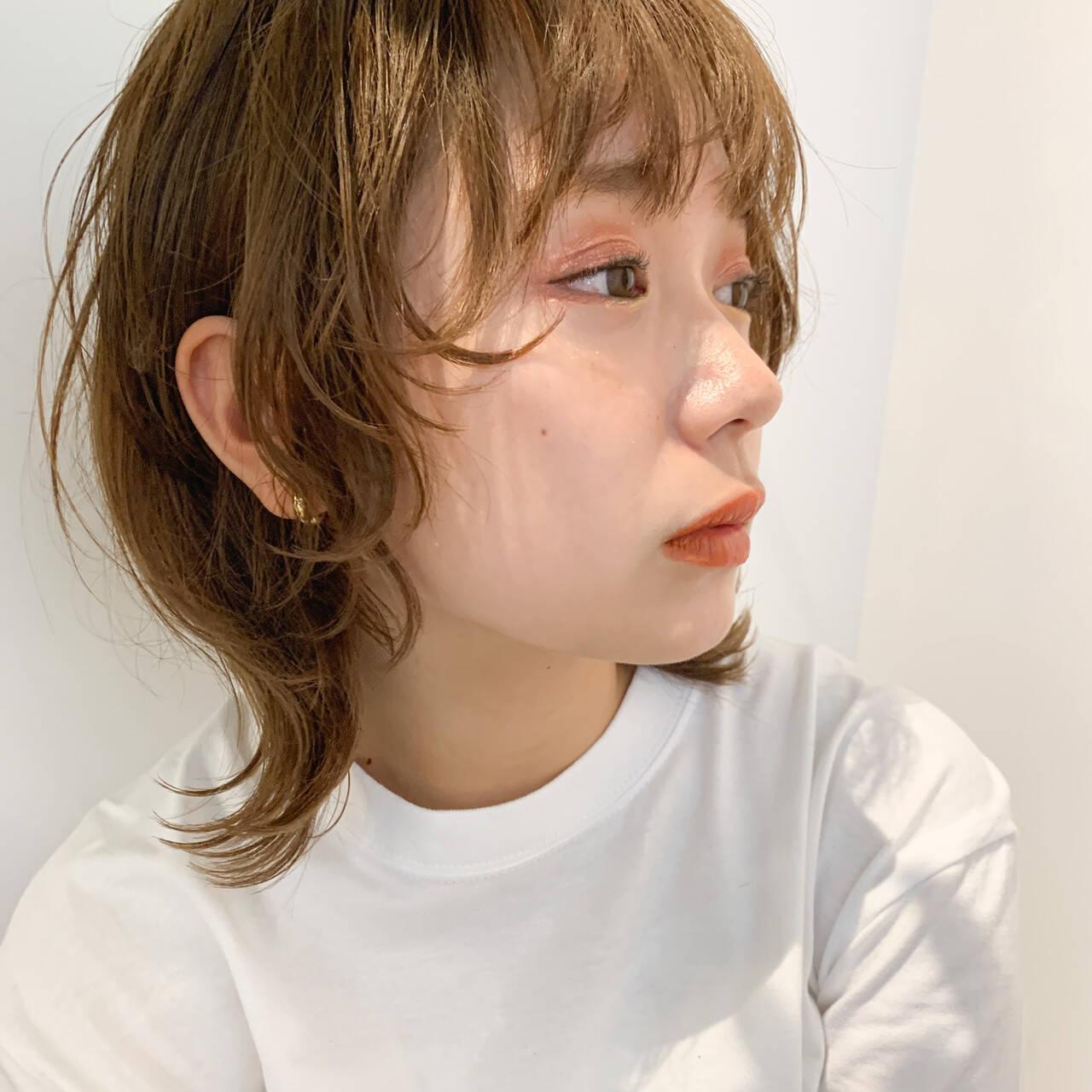 ミルクティーベージュ レイヤーボブ ストリート ウルフカットヘアスタイルや髪型の写真・画像