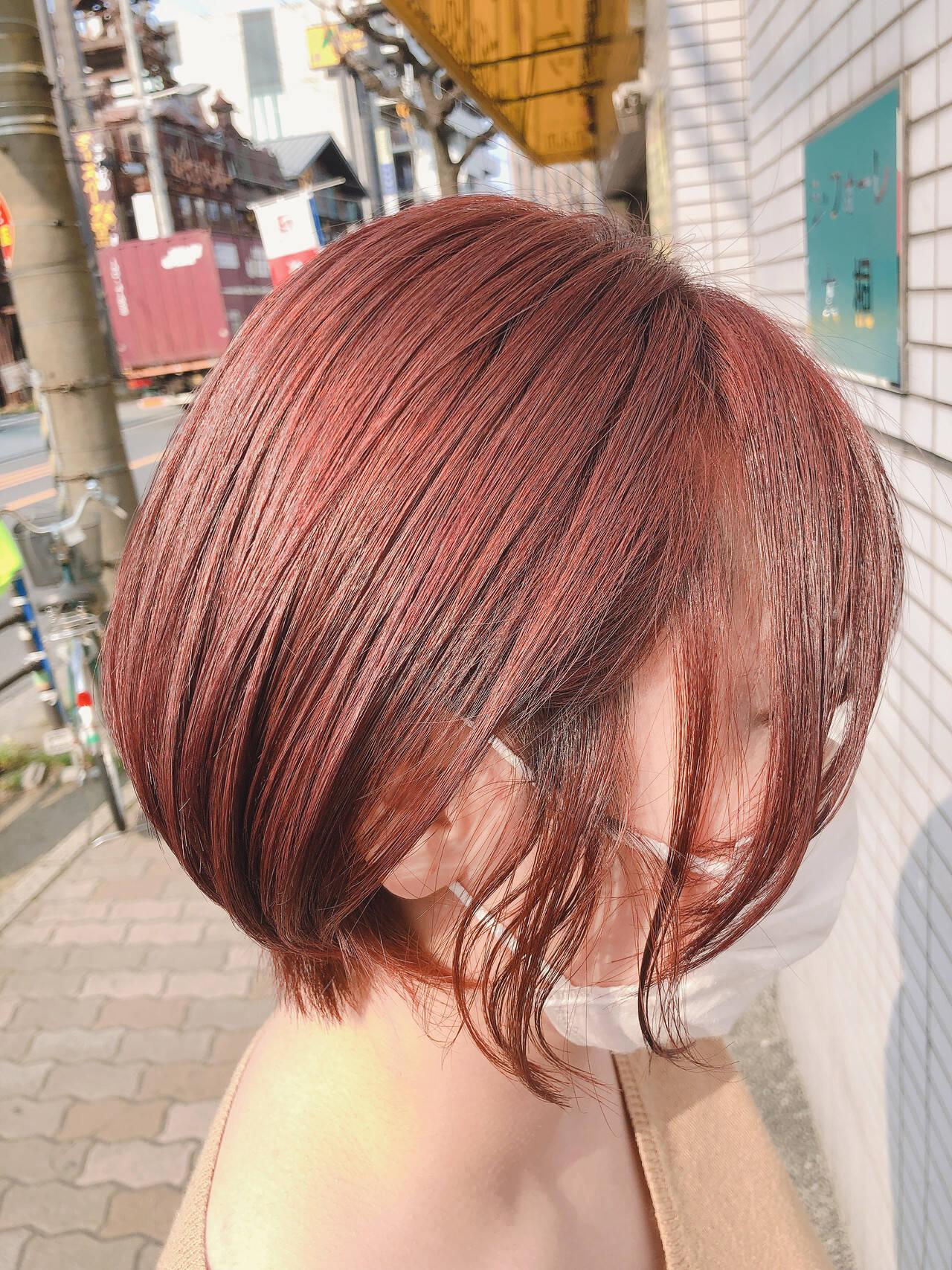 ピンクブラウン カシスレッド ショート ショートボブヘアスタイルや髪型の写真・画像