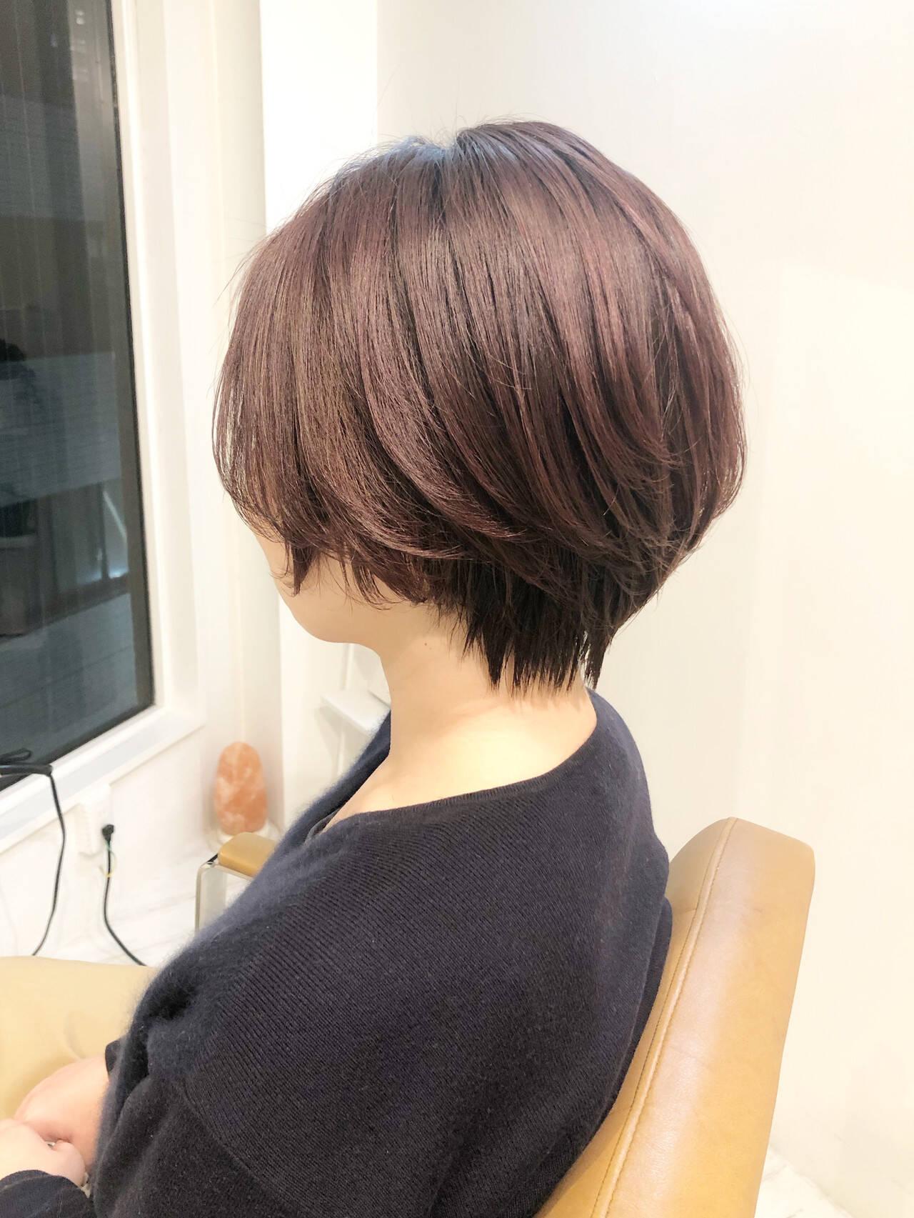 大人ショート ショートボブ イルミナカラー ショートヘアヘアスタイルや髪型の写真・画像