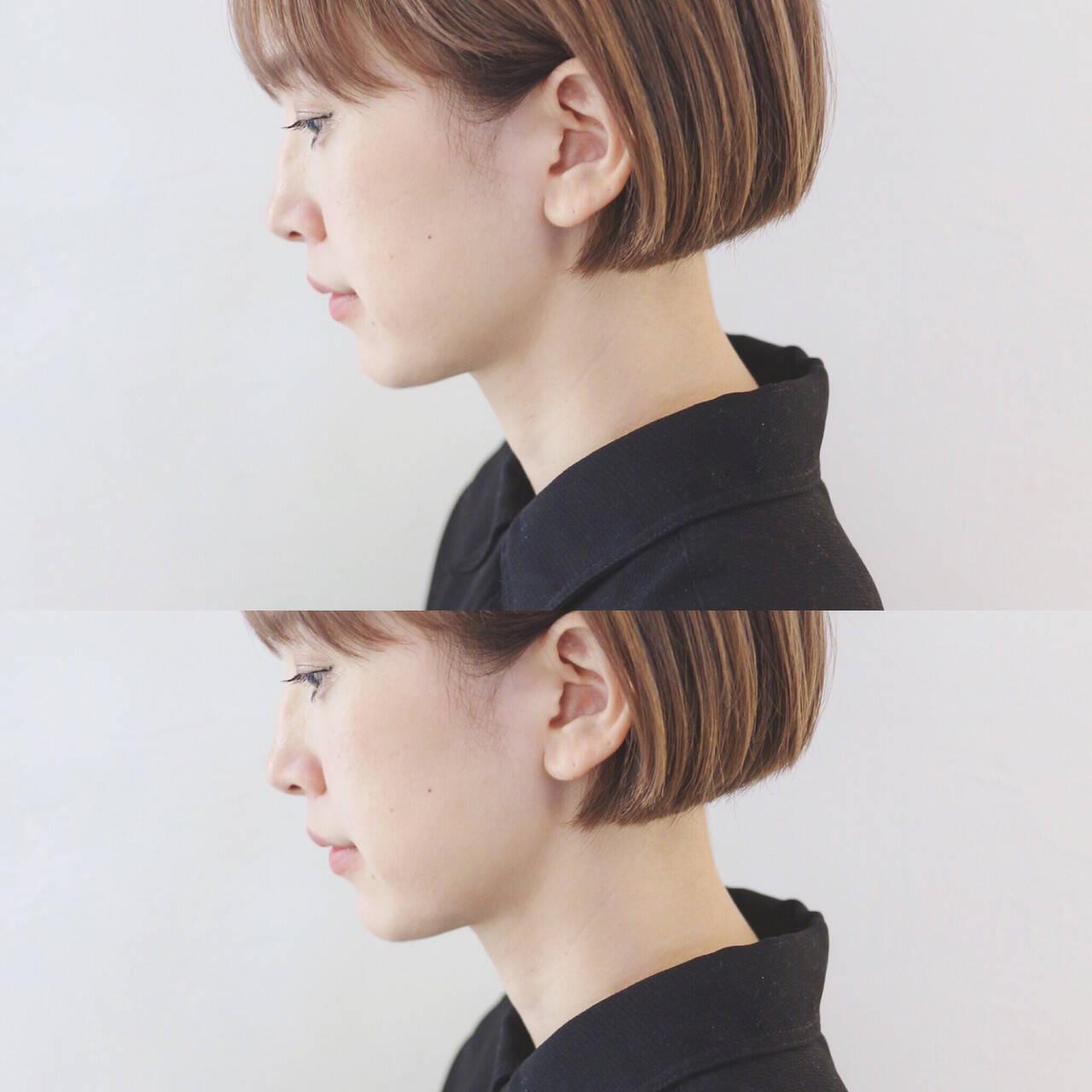 ミニボブ ボブ ハイトーン ショートヘアヘアスタイルや髪型の写真・画像