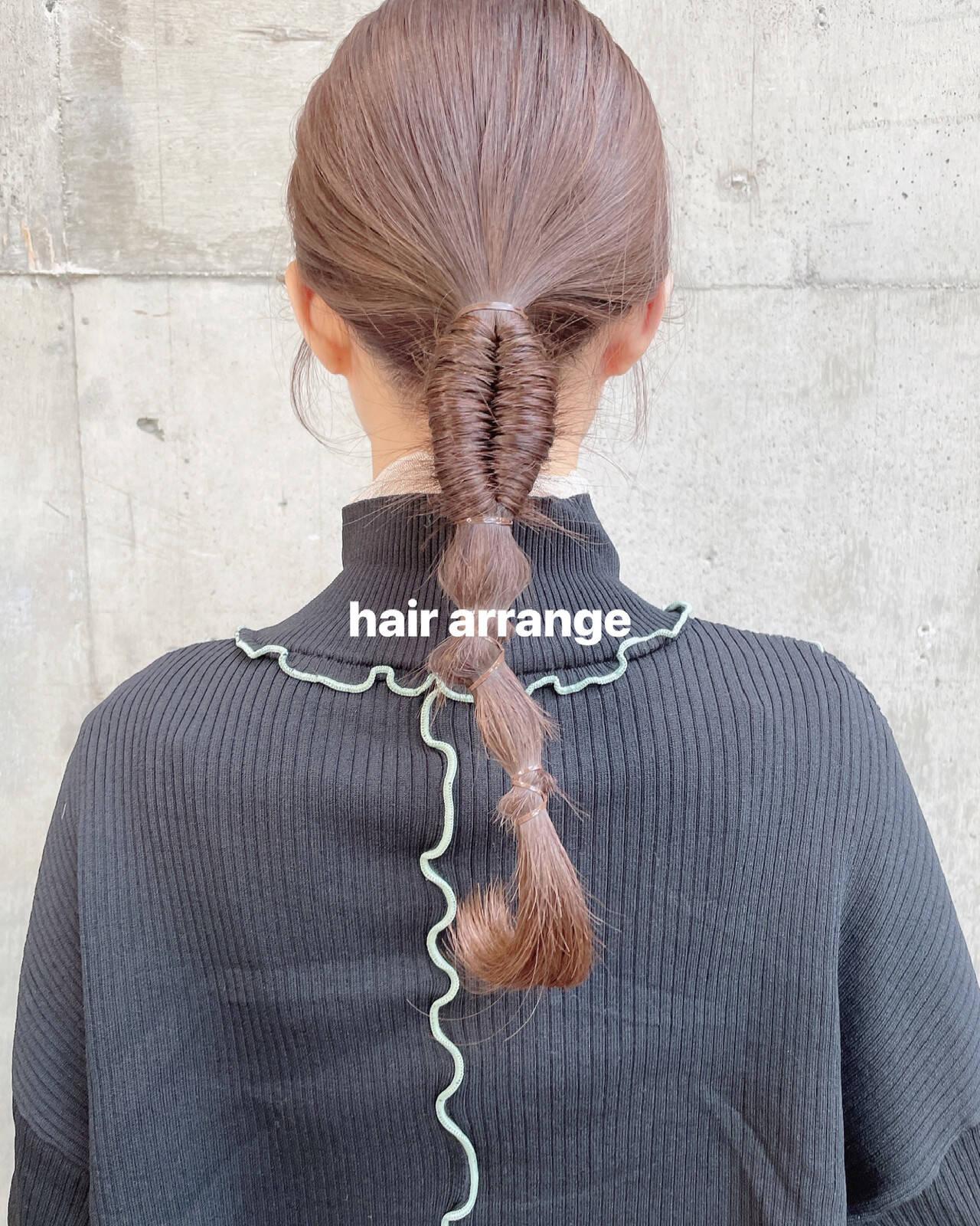 簡単ヘアアレンジ エレガント ポニーテールアレンジ セミロングヘアスタイルや髪型の写真・画像