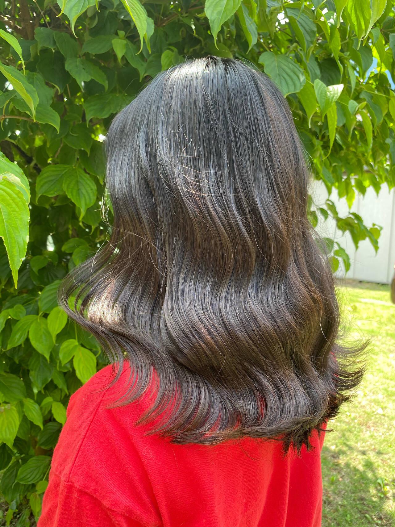 ブルーブラック 韓国 タンバルモリ 韓国ヘアヘアスタイルや髪型の写真・画像