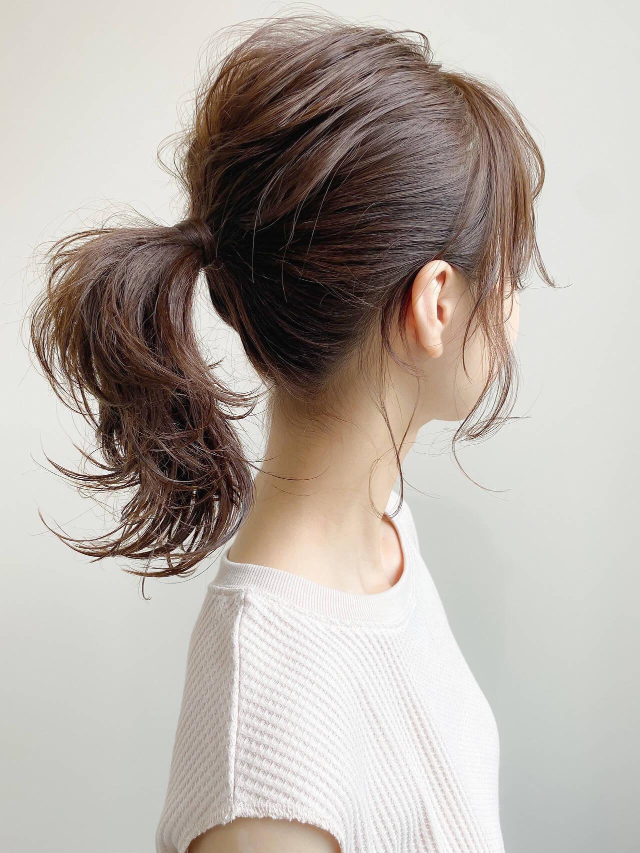 簡単ヘアアレンジ 大人かわいい アンニュイほつれヘア ミディアムヘアスタイルや髪型の写真・画像