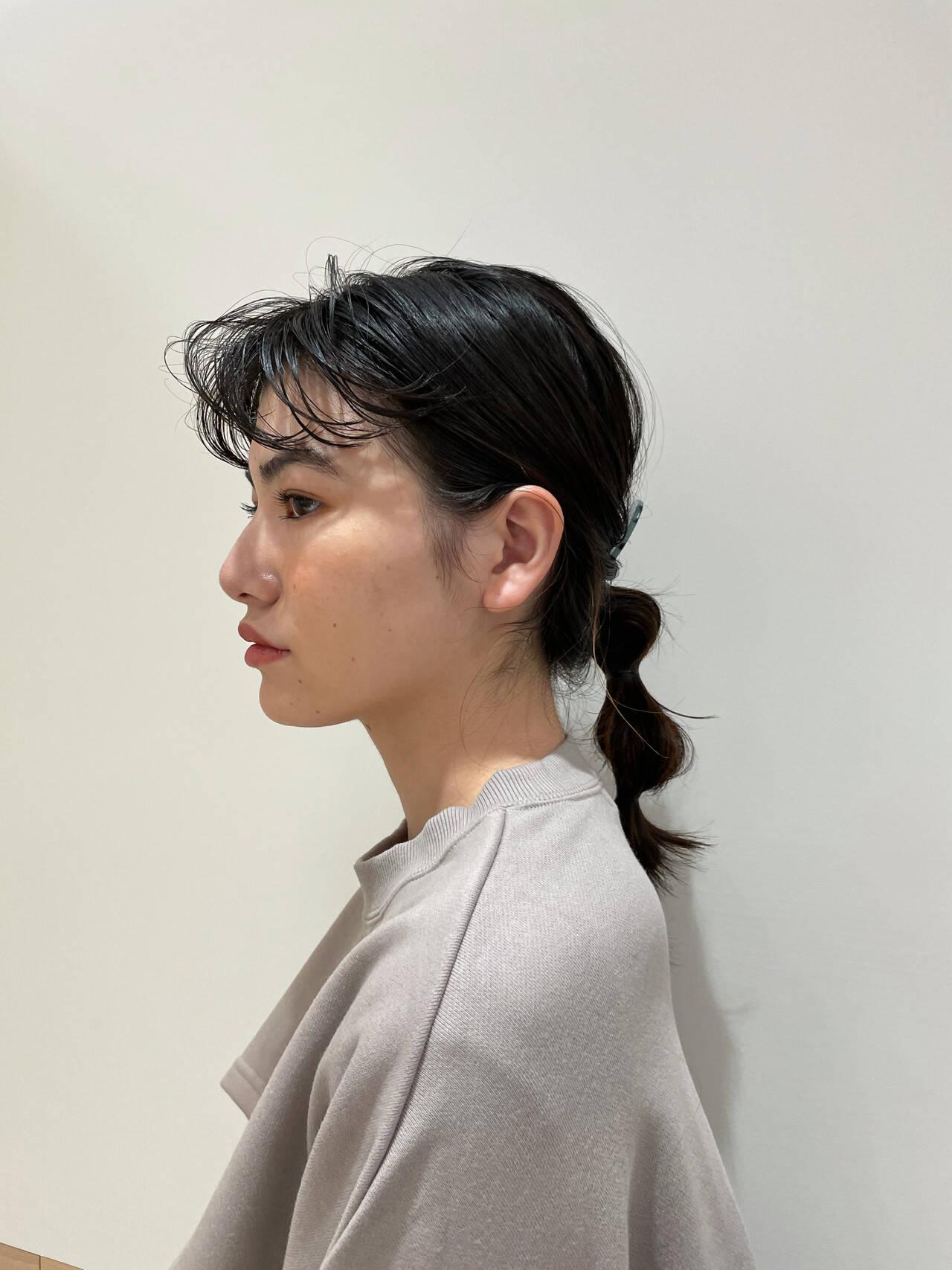 透明感カラー セミロング 簡単ヘアアレンジ ヘアアレンジヘアスタイルや髪型の写真・画像