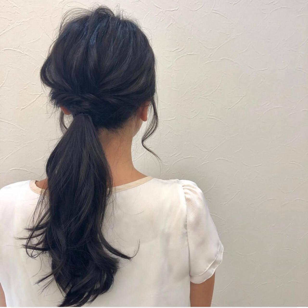 ナチュラル コテ巻き 簡単ヘアアレンジ ヘアアレンジヘアスタイルや髪型の写真・画像