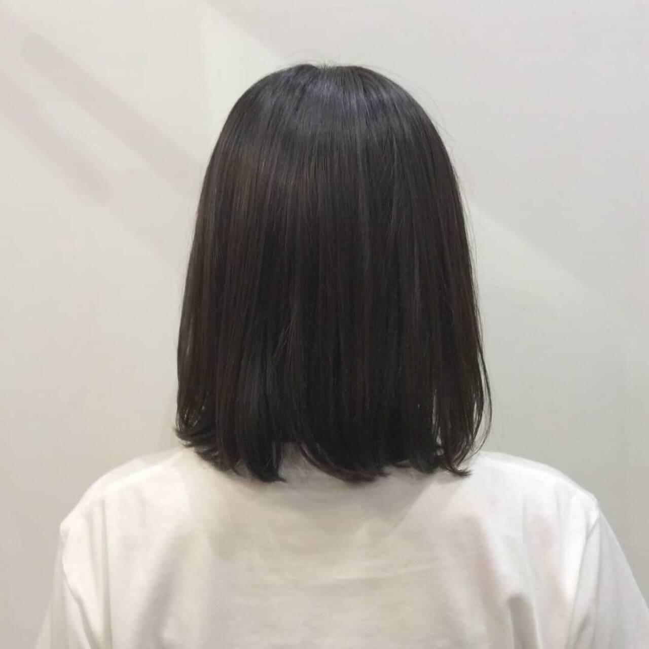 就活 ボブ 透け感ヘア 透明感カラーヘアスタイルや髪型の写真・画像
