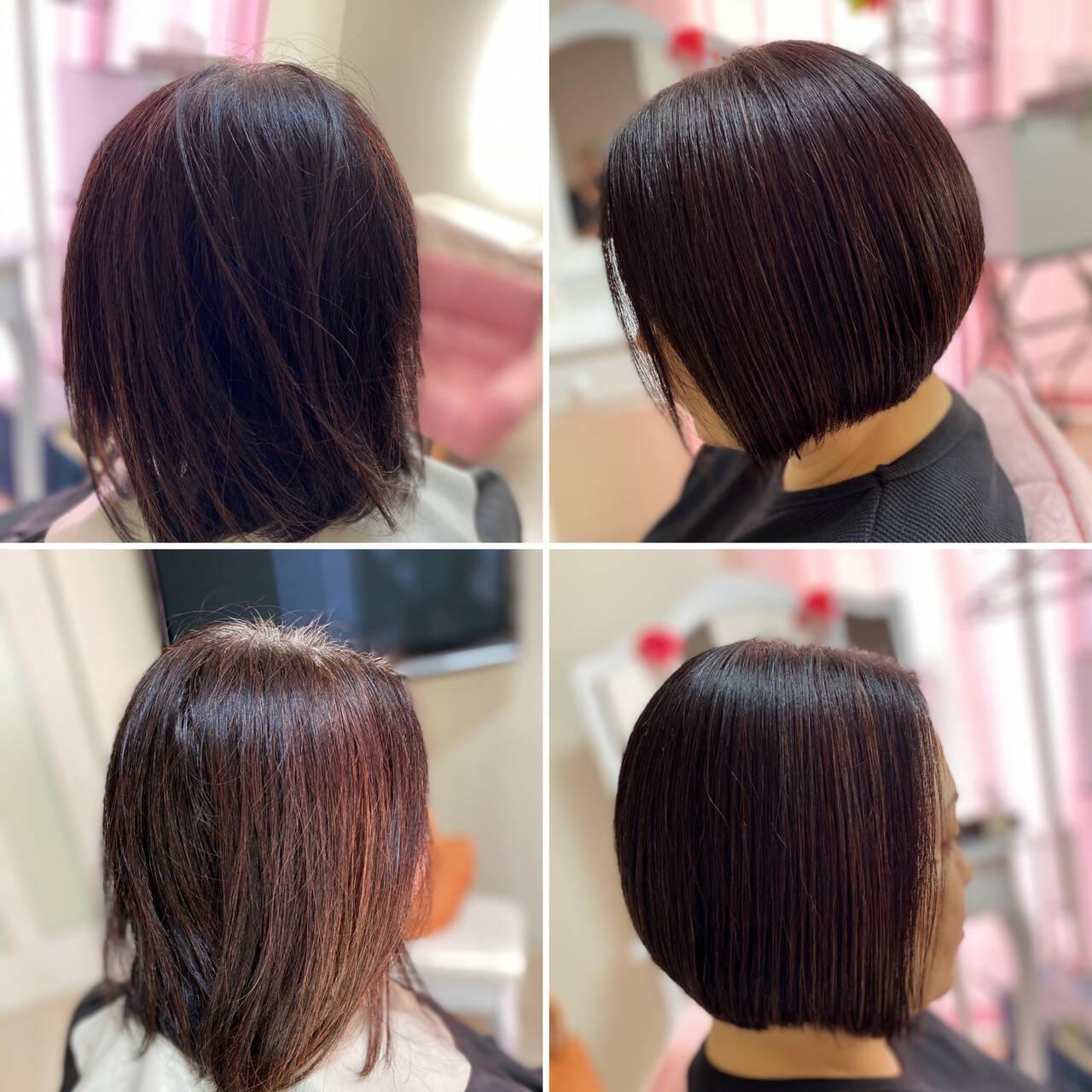 ショート 切りっぱなしボブ ヘナカラー モードヘアスタイルや髪型の写真・画像