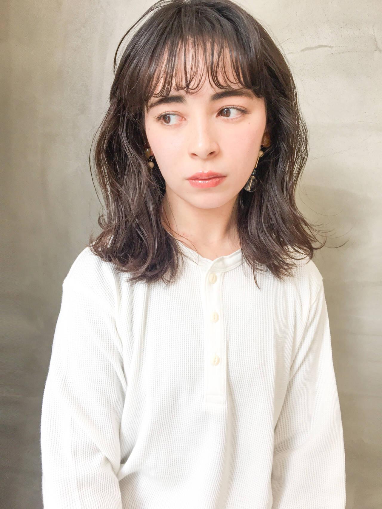 オルチャン ミディアム 黒髪 N.オイルヘアスタイルや髪型の写真・画像