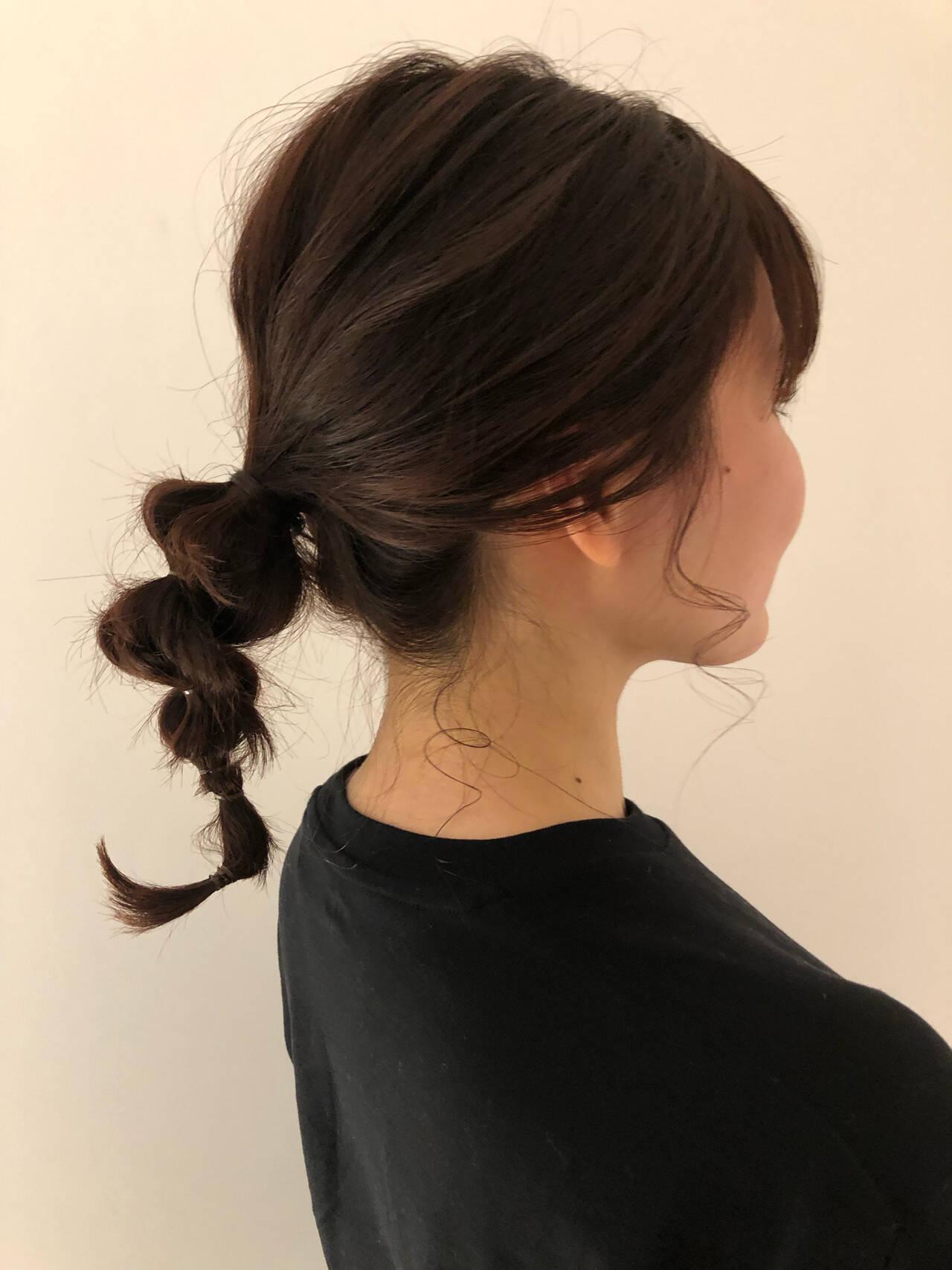 簡単ヘアアレンジ ヘアアレンジ アンニュイほつれヘア ミディアムヘアスタイルや髪型の写真・画像