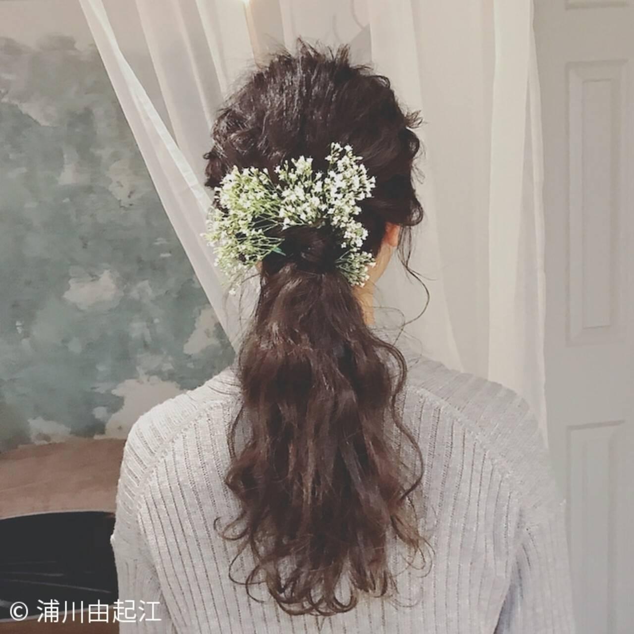 ヘアアレンジ ナチュラル 結婚式 大人かわいいヘアスタイルや髪型の写真・画像
