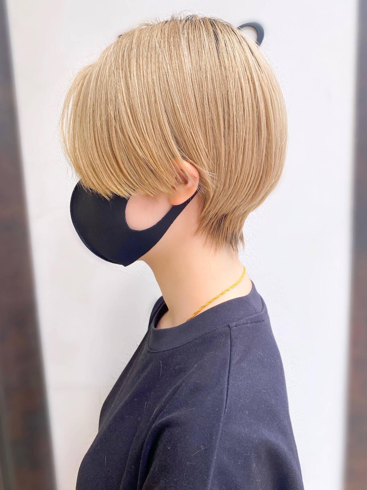 大人かわいい ショートボブ ショート 簡単スタイリングヘアスタイルや髪型の写真・画像