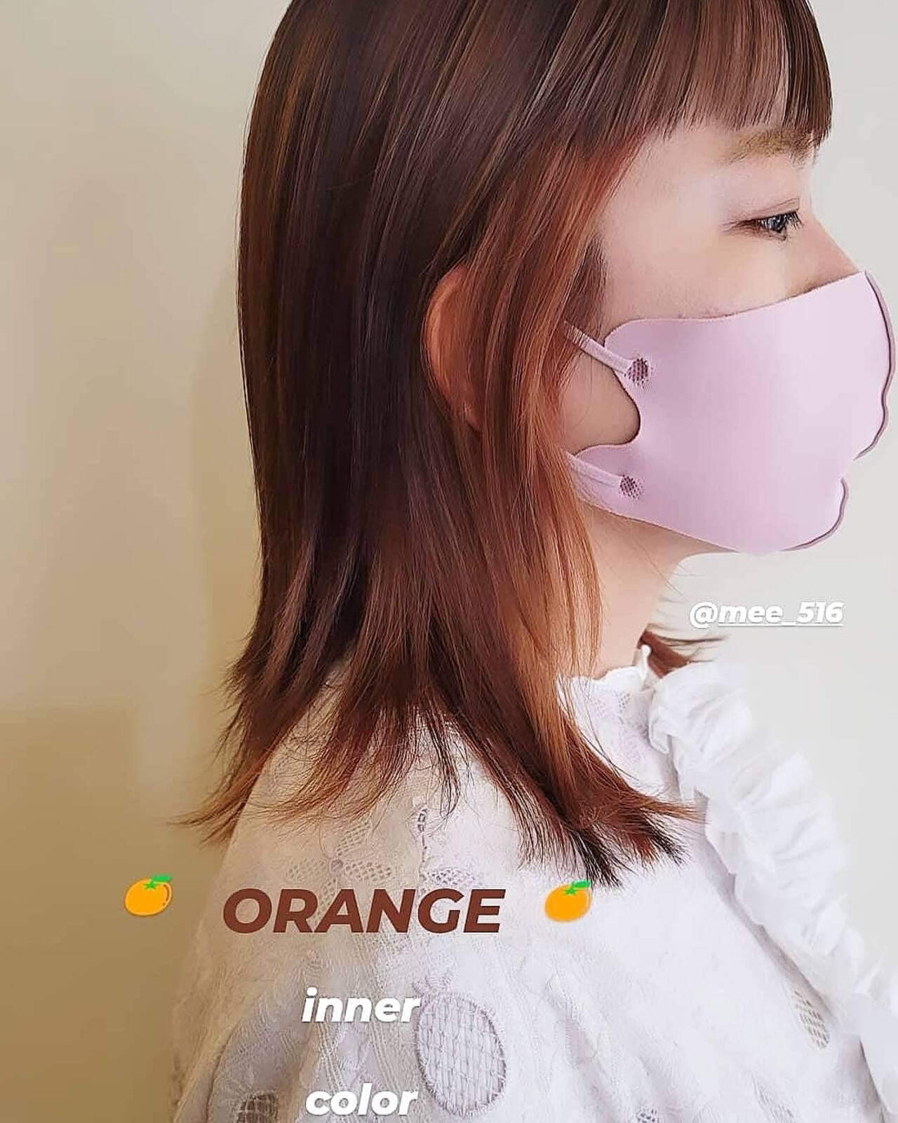 インナーカラーオレンジ オレンジカラー セミロング ストリートヘアスタイルや髪型の写真・画像