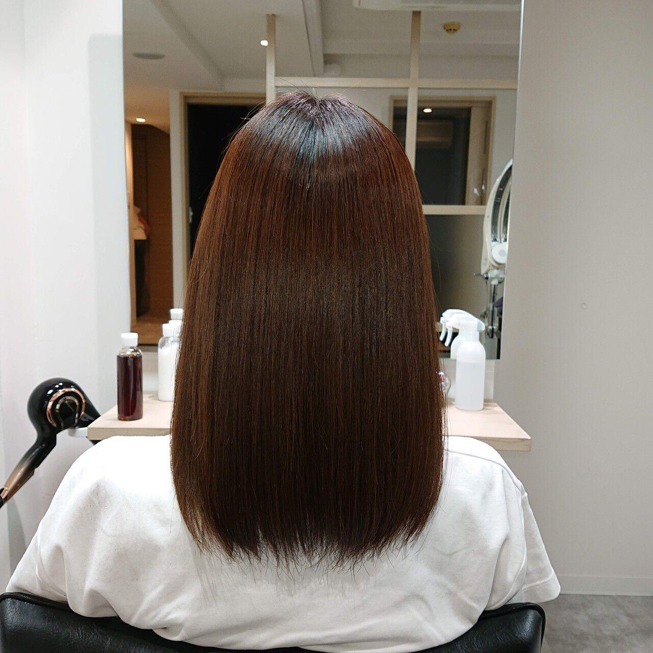 縮毛矯正 セミロング 艶髪 美髪ヘアスタイルや髪型の写真・画像