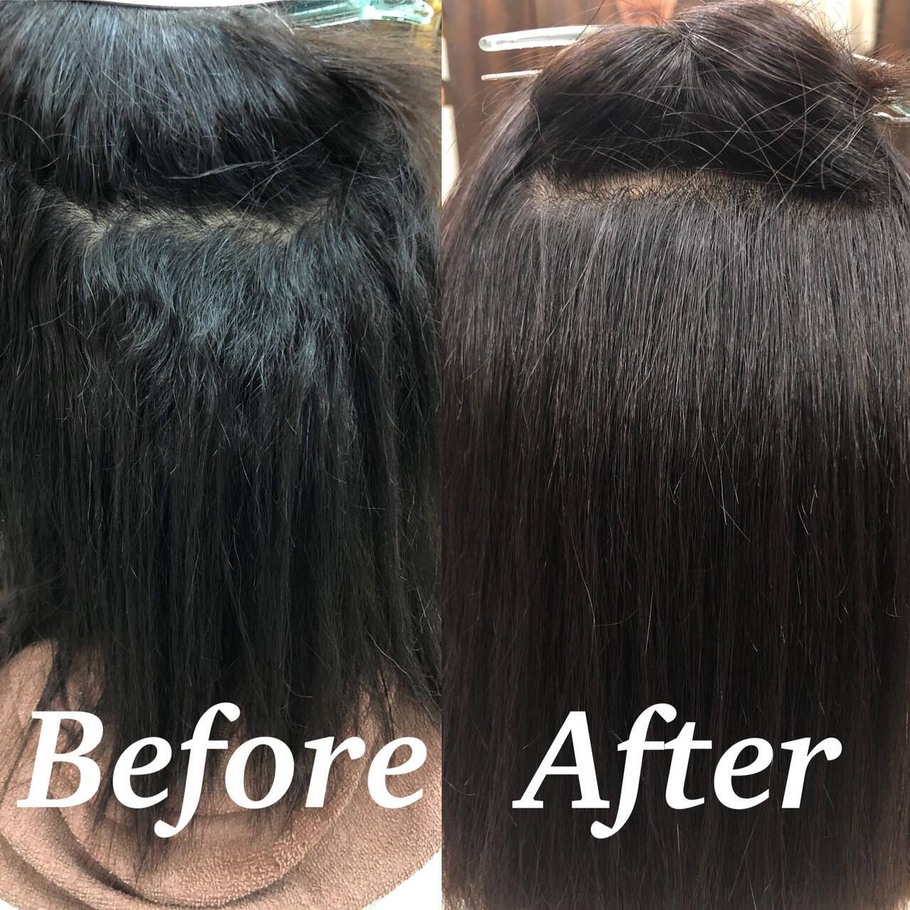 ツヤ髪 ボブ 髪質改善 縮毛矯正ヘアスタイルや髪型の写真・画像