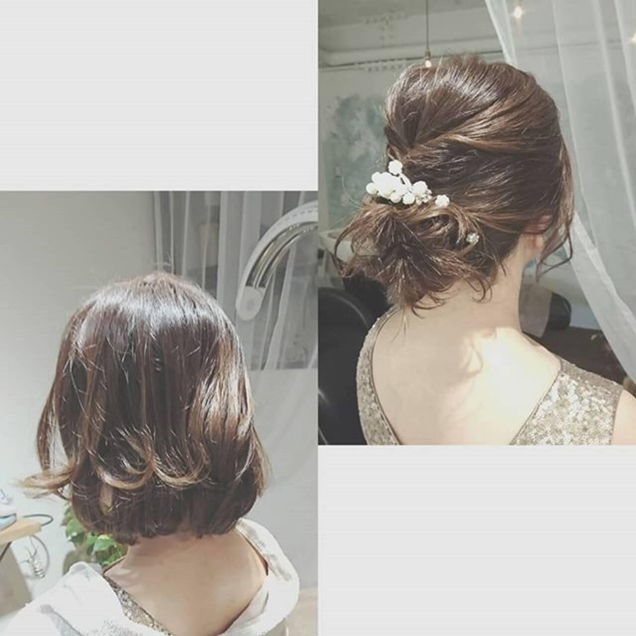 結婚式 夏 ボブ ヘアアレンジヘアスタイルや髪型の写真・画像