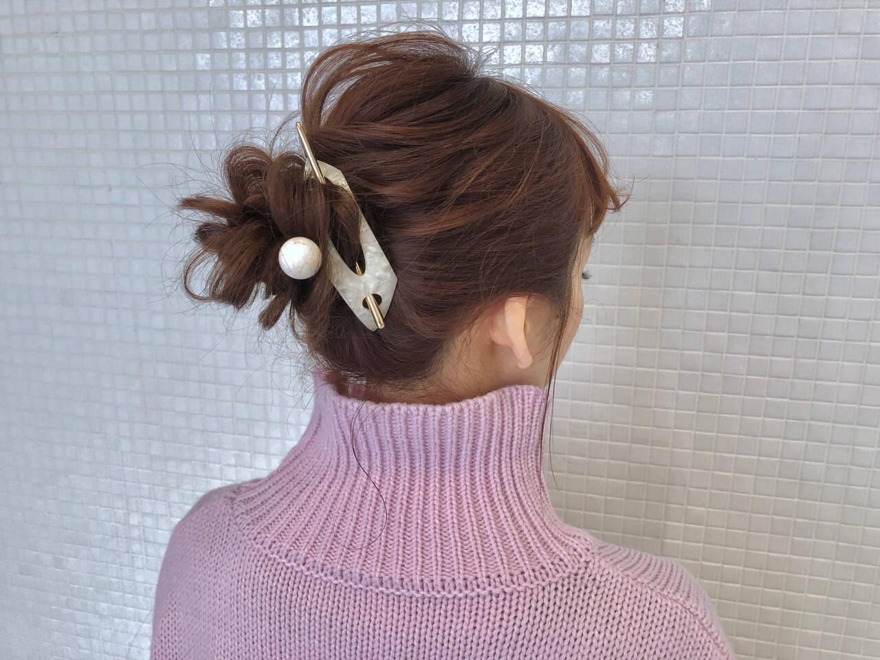簡単ヘアアレンジ お団子アレンジ ロング お団子ヘアヘアスタイルや髪型の写真・画像