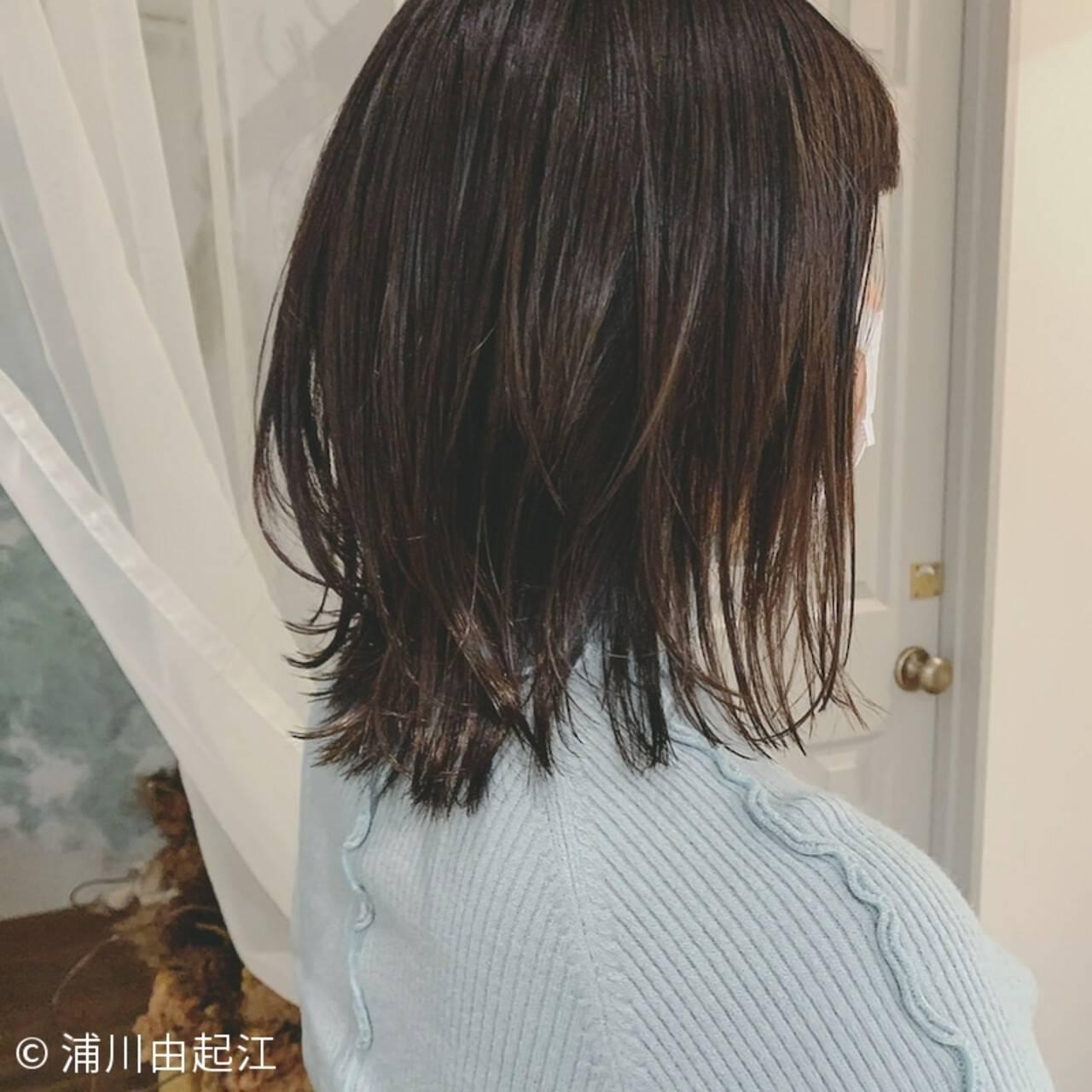 ゆるふわ ナチュラル 外ハネボブ シースルーバングヘアスタイルや髪型の写真・画像