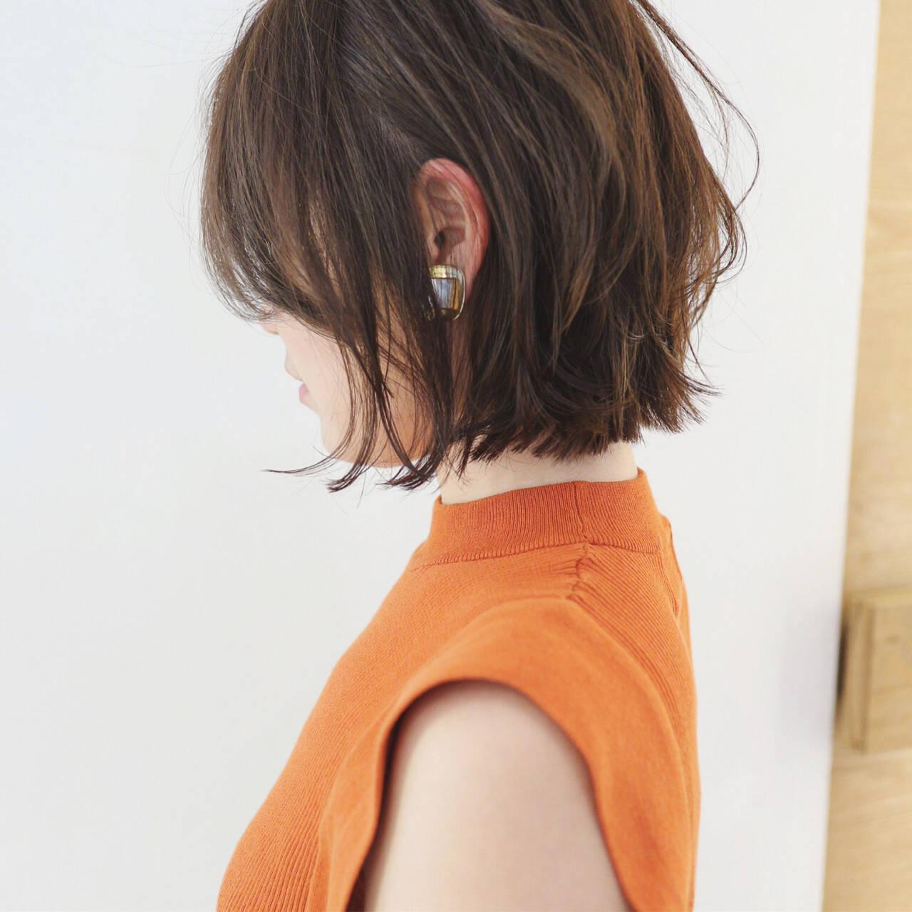 ショートボブ ミニボブ パーマ グラデーションカラーヘアスタイルや髪型の写真・画像