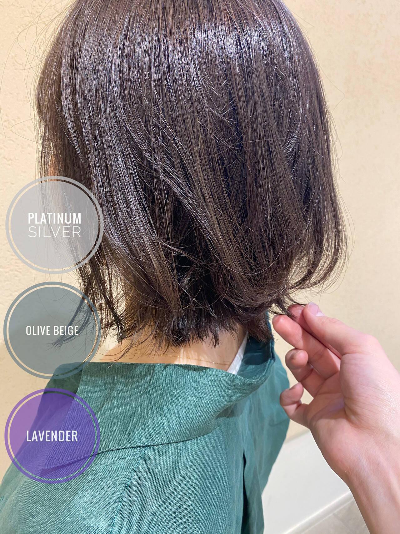 ボブ ナチュラル グレージュ ラベージュヘアスタイルや髪型の写真・画像