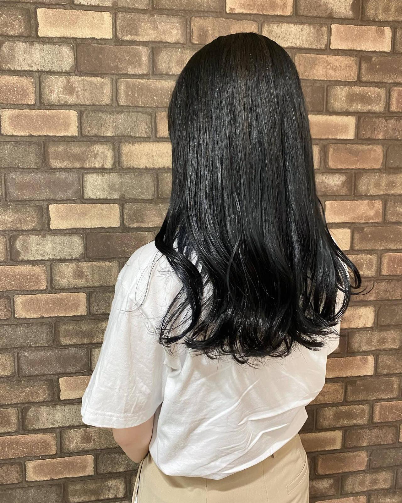 透明感 イメチェン 暗髪 セミロングヘアスタイルや髪型の写真・画像