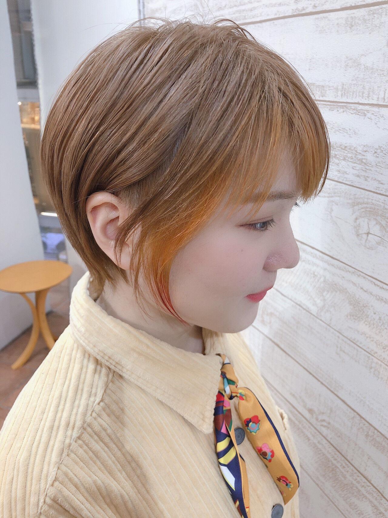 ピンク ショート ナチュラル ハンサムショートヘアスタイルや髪型の写真・画像