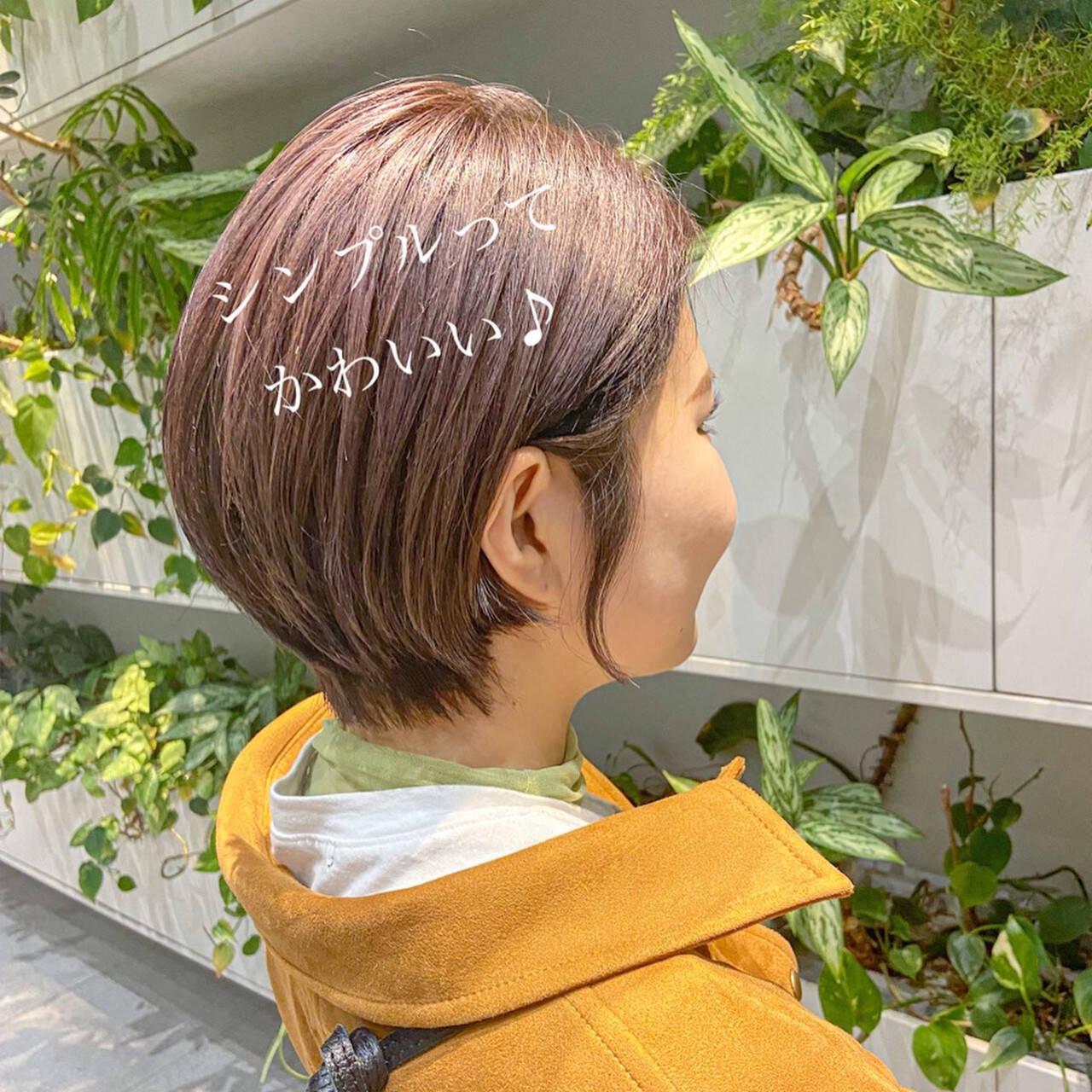 ショートボブ スッキリ ショートヘア ナチュラルヘアスタイルや髪型の写真・画像