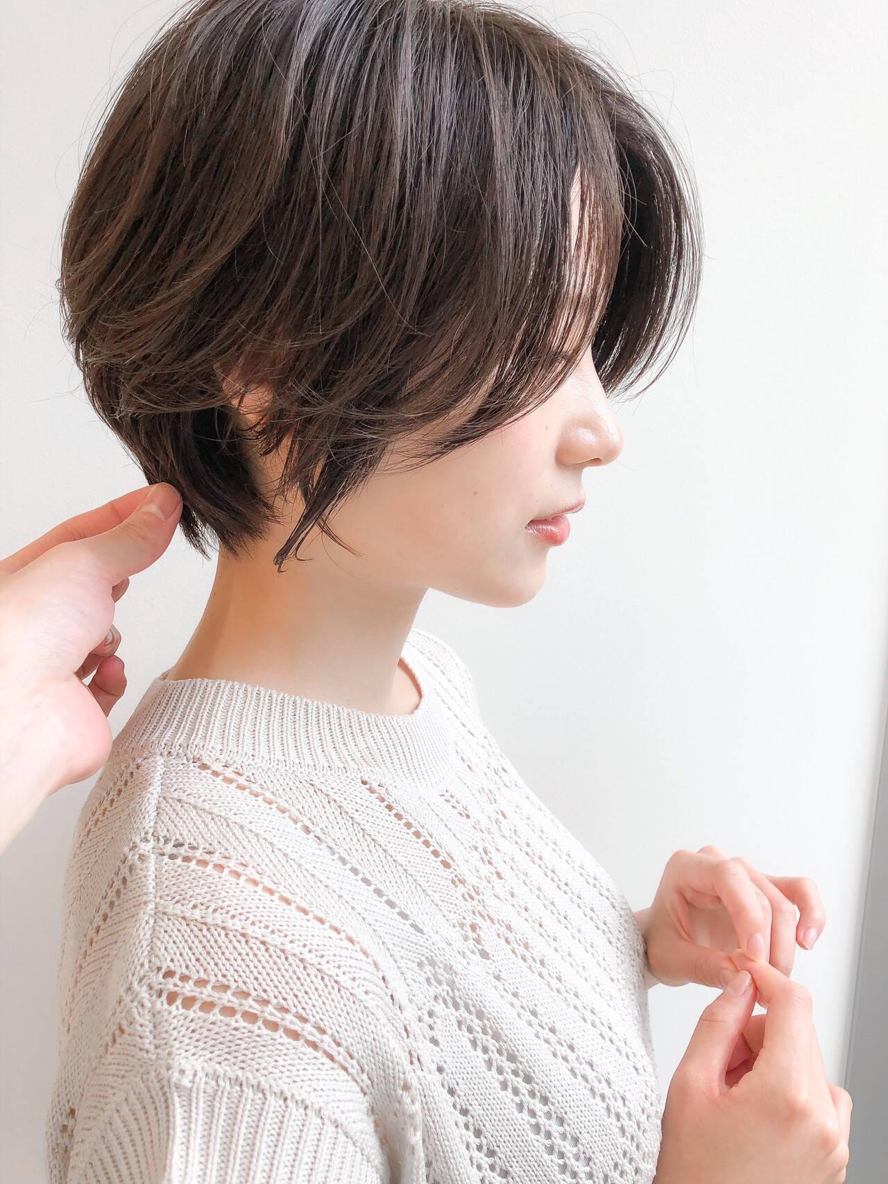 ショートヘア エレガント 40代 デートヘアスタイルや髪型の写真・画像