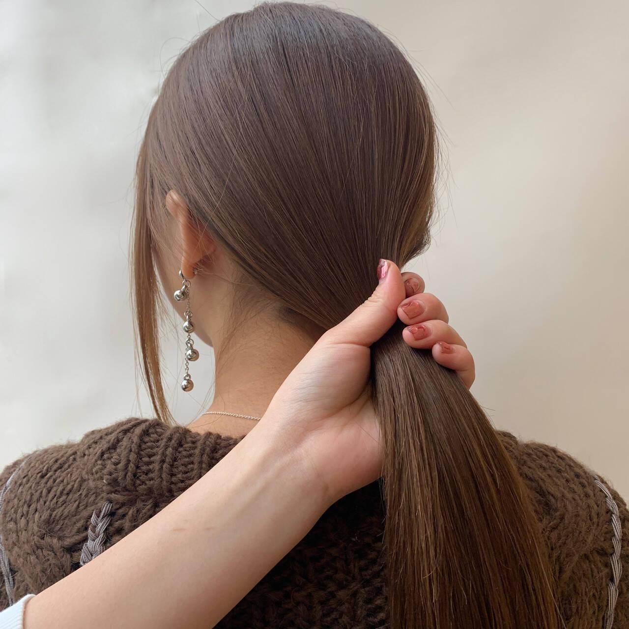 ナチュラル デート ベージュ ロングヘアスタイルや髪型の写真・画像