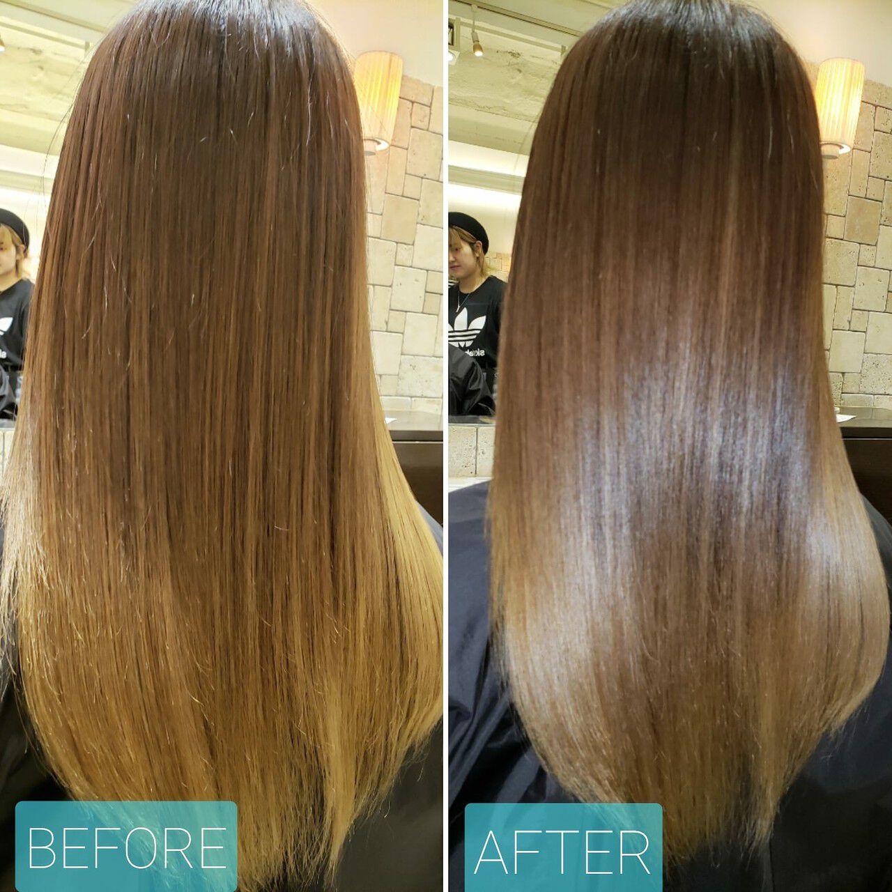 ロング 艶髪 髪質改善 ナチュラルヘアスタイルや髪型の写真・画像