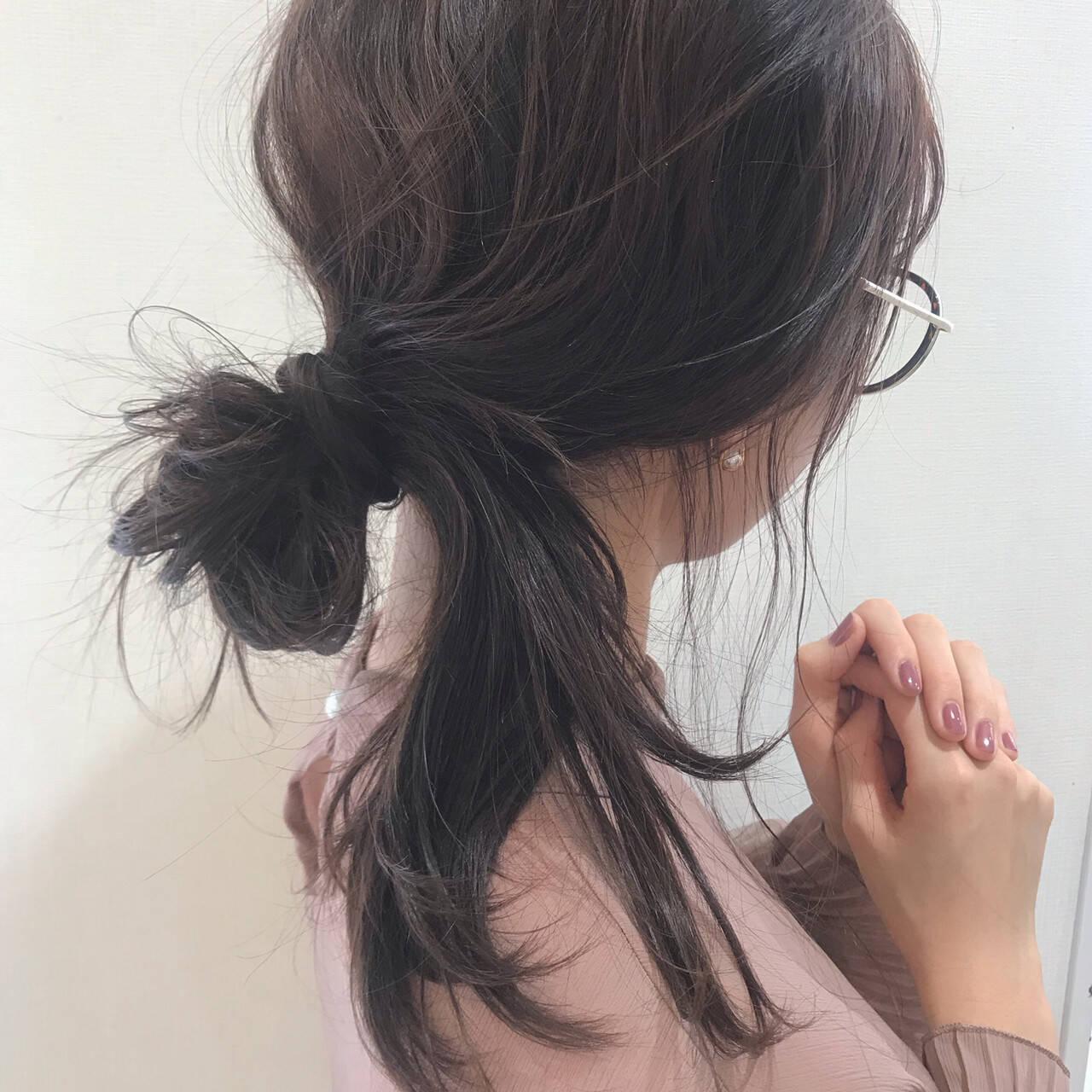 セミロング お団子ヘア ヘアアレンジ 簡単ヘアアレンジヘアスタイルや髪型の写真・画像
