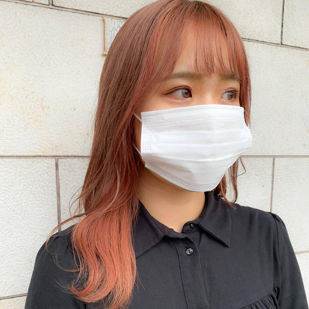 ガーリー ピンクベージュ 韓国ヘア ミディアムヘアスタイルや髪型の写真・画像